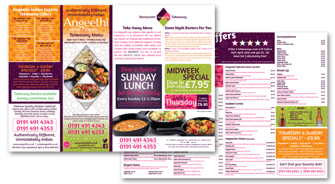 A3 menu design for the takeaway section of the Indian restaurant Angeethi in Low Fell, gateshead.