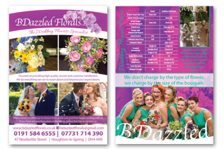 Double sided A5 flyer designed and printed for distribution in Count Durham.