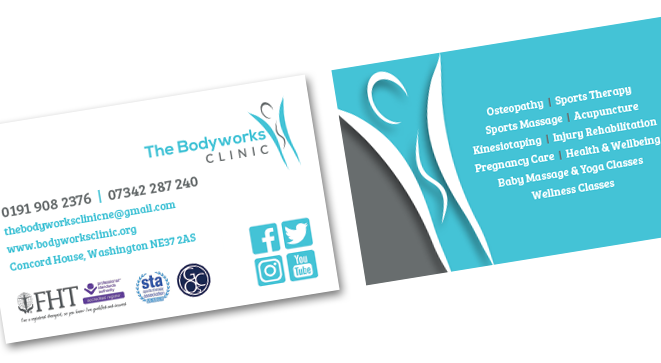 Grieves design business stationery business card design for the bodyworks clinic in washington colourmoves Gallery