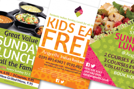 A series of flyer designs for the Indian restaurant, Angeethi in Low Fell Gateshead.