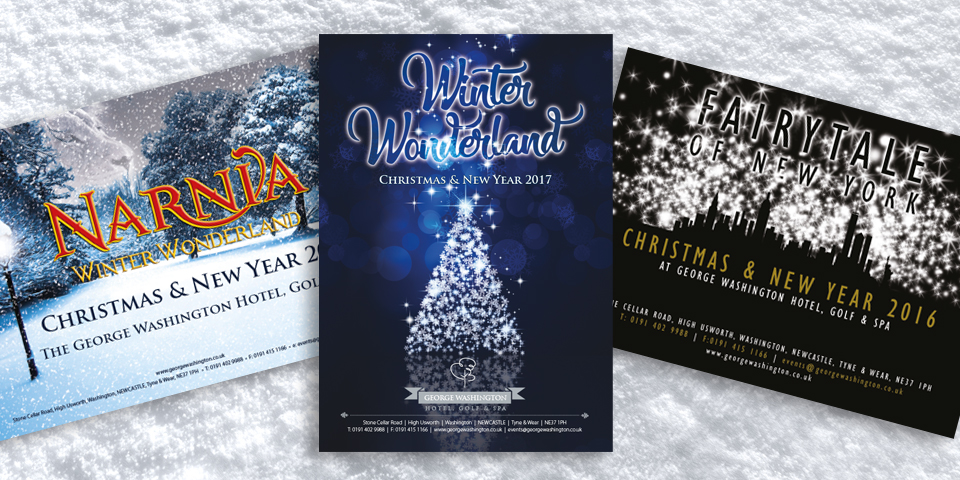 3 Christmas brochures for the George Washington Hotel in Newcastle. 2015, 16 and 17.
