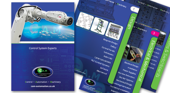 Brochure design for CAM automation in Washington.