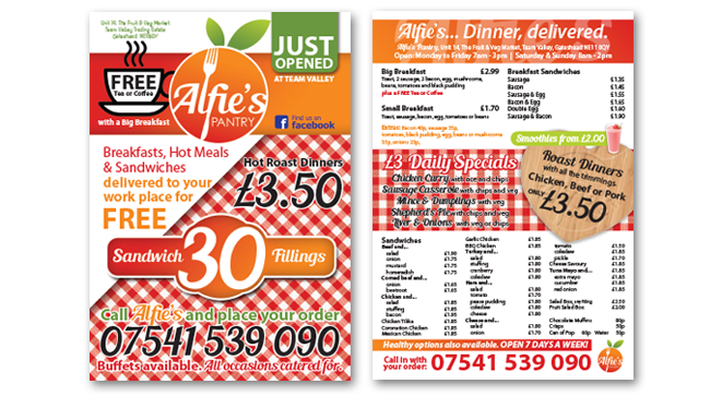 Menu come leaflets design for Alfie's in Gateshead