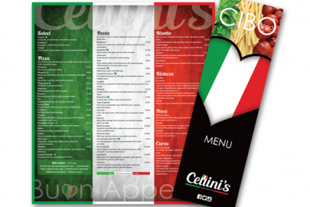 Large A3 menu design for Cellinis in Washington Village, Washington.