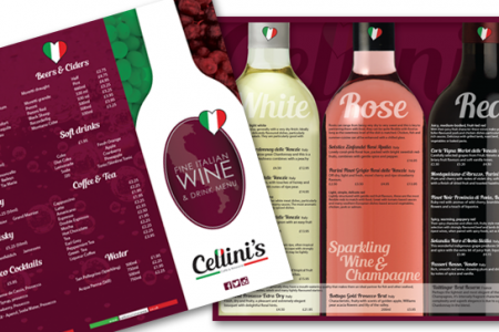 Cellinis wine menu design, Washington