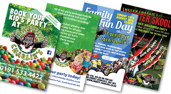 A series of flyer designs for Cheeky Charlie's in Sunderland.