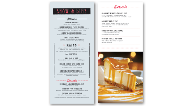 Grosvenor menu design, Sunderland