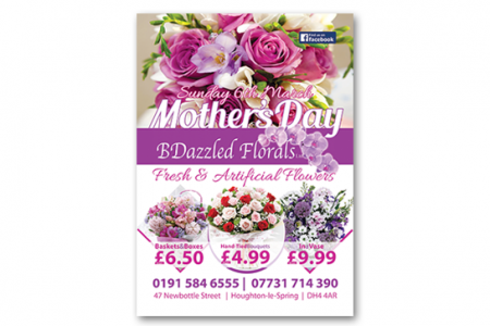 A1 poster design and print for a florist based in County Durham,
