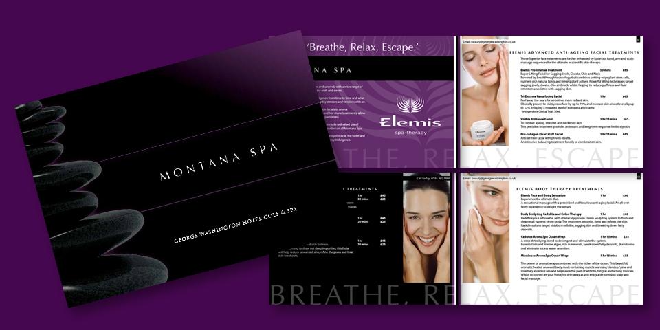 Brochure design for Montana Spa in Washington Tyne and Wear.