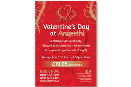 A1 size posters design for Valentine's dat, Low Fell Gateshead.
