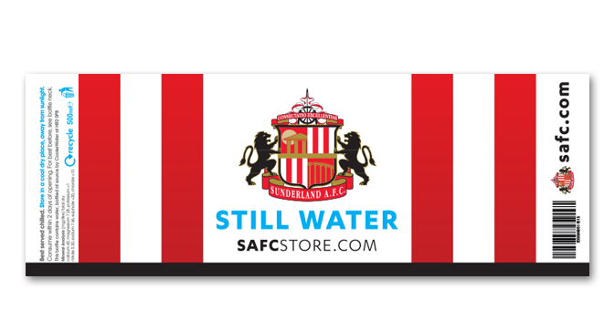The label for water branded and sold by SAFC in their official club stores.